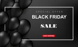 Cartel de la venta de Black Friday con los globos brillantes en un fondo oscuro con el capítulo cuadrado Vector ilustración del vector