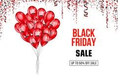 Cartel de la venta de Black Friday con los globos en fondo Ilustración del vector