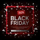 Cartel de la venta de Black Friday con los triángulos en fondo negro con el capítulo cuadrado y la onda abstracta Ilustración del Fotografía de archivo libre de regalías