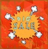 Cartel de la venta con la historieta del auge Fotografía de archivo libre de regalías