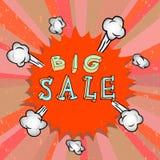 Cartel de la venta con la historieta del auge Fotos de archivo libres de regalías