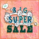 Cartel de la venta con la historieta del auge Fotos de archivo