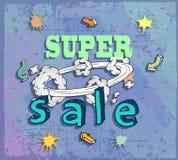 Cartel de la venta con la historieta del auge Imágenes de archivo libres de regalías