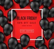 Cartel de la venta de Black Friday con los globos brillantes Fotografía de archivo libre de regalías