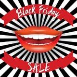 Cartel de la venta de Black Friday Letras dibujadas mano en cintas rojas Imágenes de archivo libres de regalías
