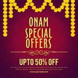 Cartel de la venta de las ofertas especiales de Onam, diseño de la bandera Fotografía de archivo libre de regalías
