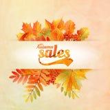 Cartel de la venta del otoño con las hojas en un papel viejo ilustración del vector