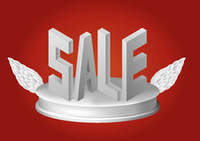 Cartel de la venta en el podio con las alas Ilustración del vector Imagen de archivo libre de regalías