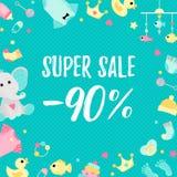 Cartel de la venta especial con los elementos de la fiesta de bienvenida al bebé ilustración del vector