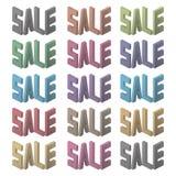 Cartel de la venta Letras coloridas Ilustración del vector Foto de archivo libre de regalías
