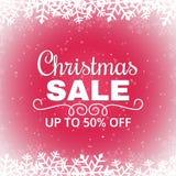 Cartel de la venta de la Navidad con los copos de nieve Inscripción blanca en fondo rojo Bandera de la venta del invierno Ilustra Fotos de archivo libres de regalías