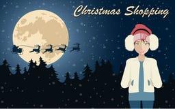 Cartel de las compras de la Navidad Foto de archivo libre de regalías