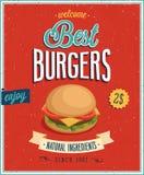 Cartel de las hamburguesas del vintage. Foto de archivo libre de regalías