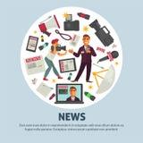 Cartel de las noticias de última hora para la profesión del periodismo del equipo del periodista del vector Foto de archivo