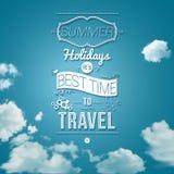 Cartel de las vacaciones de verano en estilo del papel del recorte. Fotografía de archivo