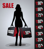 Cartel de las ventas con la silueta de la mujer Fotos de archivo libres de regalías