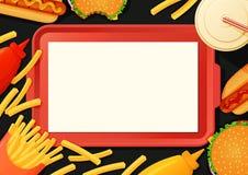 Cartel de los alimentos de preparación rápida, bandera, plantilla del menú Bandeja con las hamburguesas, calientes Foto de archivo