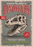 Cartel de los dinosaurios del vintage Foto de archivo