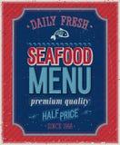 Cartel de los mariscos del vintage. Fotos de archivo