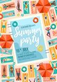 Cartel de moda del partido del verano con la piscina y la gente Venta del verano o plantilla del dise?o de la invitaci?n La gente ilustración del vector
