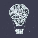 Cartel de motivación del viaje con el baloon del aire Imagen de archivo libre de regalías
