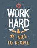 Cartel de motivación duro del trabajo Fotografía de archivo