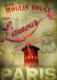 Cartel de Moulin Rouge L'amour Imágenes de archivo libres de regalías