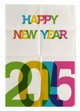 Cartel de papel doblado de la Feliz Año Nuevo 2015 Foto de archivo