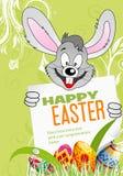 Cartel de Pascua con los huevos, el conejo y la hoja del papel