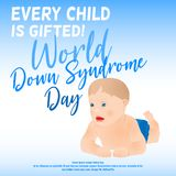 Cartel de Síndrome de Down Imágenes de archivo libres de regalías
