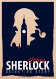 Cartel de Sherlock Holmes Ejemplo detective Ejemplo con Sherlock Holmes Calle 221B del panadero Londres INTERDICCIÓN GRANDE ilustración del vector