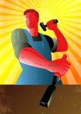 Cartel de Striking Hammer Chisel del carpintero retro Imagen de archivo libre de regalías