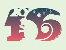 Cartel del Año Nuevo 2016 años del mono Imagenes de archivo