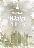 Cartel del Año Nuevo Backgroud de oro de la Navidad abstracta del día de fiesta Fotos de archivo
