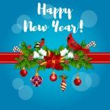 Cartel del Año Nuevo con los cardenales rojos stock de ilustración