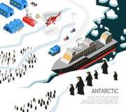 Cartel del acuerdo de los pingüinos del rompehielos de la Antártida stock de ilustración