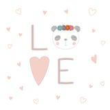 Cartel del amor con una cara de la panda Imágenes de archivo libres de regalías