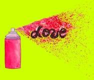 Cartel del amor Ejemplo del arte de la calle de la pintada con el splashe de la pintura Imagen de archivo