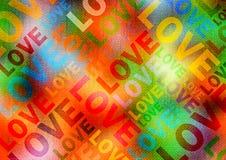 Cartel del amor. Fondo multicolor del estilo del disco imágenes de archivo libres de regalías
