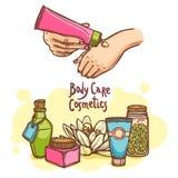 Cartel del anuncio de productos de los cosméticos del cuidado del cuerpo Foto de archivo libre de regalías
