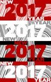 Cartel del Año Nuevo con el ` 2017 del ` en fondo rayado Fotografía de archivo