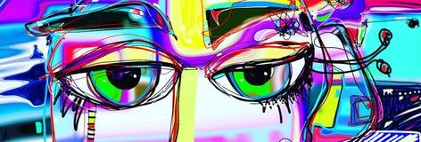 Cartel del arte abstracto de Digitaces con los ojos humanos del garabato Imagen de archivo libre de regalías