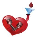 Cartel del arte El corazón se muestra como el motor de la vida O súplica al dona Foto de archivo