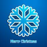 Cartel del azul del copo de nieve de la Feliz Navidad Fotos de archivo
