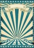 Cartel del azul del grunge del circo stock de ilustración
