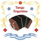 Cartel del bandoneon del tango de Argentina stock de ilustración