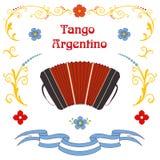 Cartel del bandoneon del tango de Argentina libre illustration
