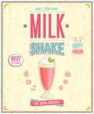 Cartel del batido de leche del vintage. Imagen de archivo libre de regalías