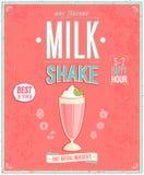 Cartel del batido de leche del vintage Fotos de archivo