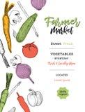 Cartel del bosquejo del mercado del granjero de las verduras Plantilla o del diseño del vector ilustración del vector